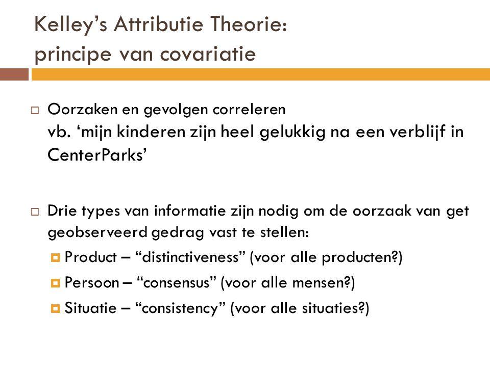 Kelley's Attributie Theorie: principe van covariatie  Oorzaken en gevolgen correleren vb.