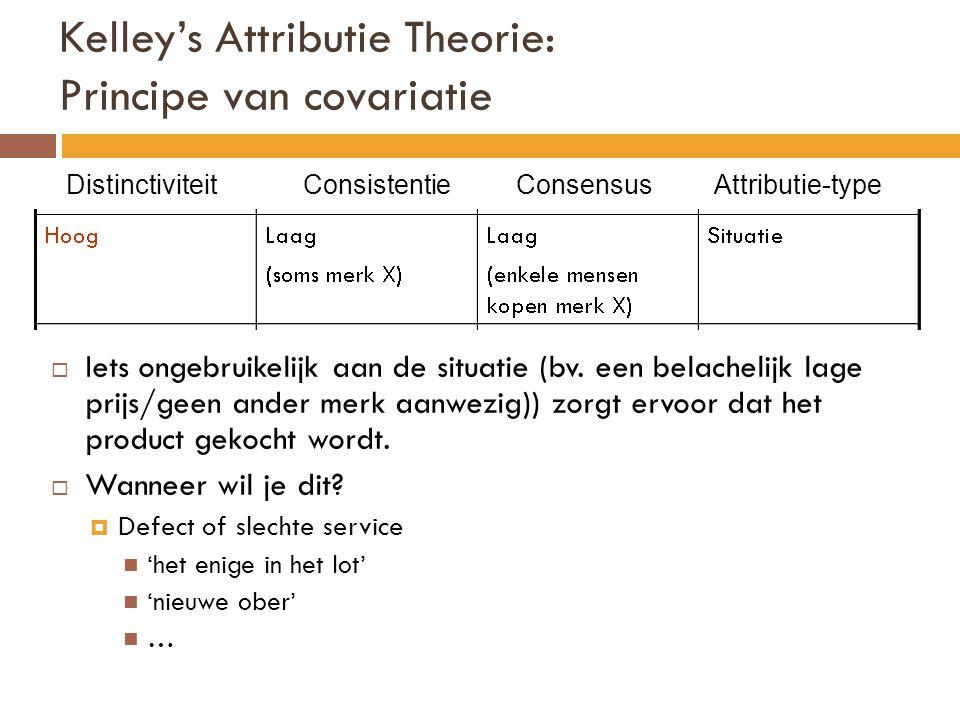 Kelley's Attributie Theorie: Principe van covariatie Distinctiviteit Consistentie Consensus Attributie-type  Iets ongebruikelijk aan de situatie (bv.