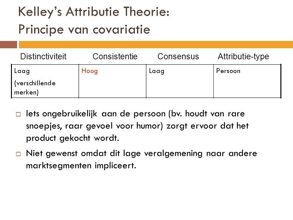 Kelley's Attributie Theorie: Principe van covariatie Distinctiviteit Consistentie Consensus Attributie-type  Iets ongebruikelijk aan de persoon (bv.