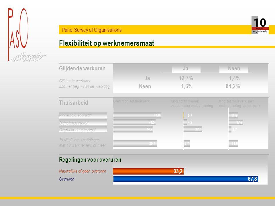 Flexibiliteit op werknemersmaat Panel Survey of Organisations Glijdende werkuren Thuisarbeid Regelingen voor overuren Totaliteit van vestigingen met 10 werknemers of meer Glijdende werkuren aan het begin van de werkdag Industriële sectoren Dienstensectoren Nauwelijks of geen overuren Overuren Overheid en non-profit Ja Neen 12,7%1,4% 1,6%84,2% JaNeen 87,8 78,5 74,2 80,7 0,7 4,2 22,0 7,7 11,5 17,3 3,7 11,6 Geen mog.