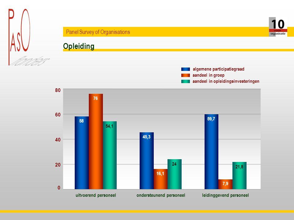 Opleiding Panel Survey of Organisations uitvoerend personeelondersteunend personeelleidinggevend personeel 58 45,3 59,7 76 16,1 7,9 54,1 24 21,8 0 20 40 60 80 aandeel in opleidingsinvesteringen aandeel in groep algemene participatiegraad
