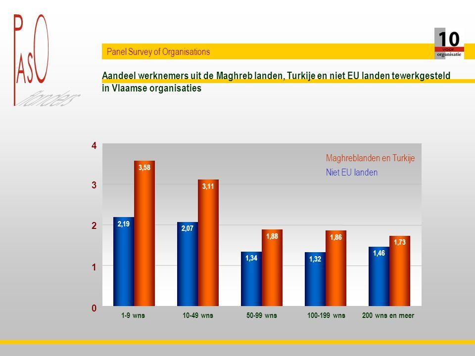 Aandeel werknemers uit de Maghreb landen, Turkije en niet EU landen tewerkgesteld in Vlaamse organisaties Panel Survey of Organisations 2,19 2,07 1,34 1,32 1,46 3,58 3,11 1,88 1,86 1,73 1-9 wns10-49 wns50-99 wns100-199 wns200 wns en meer 0 1 2 3 4 Maghreblanden en Turkije Niet EU landen