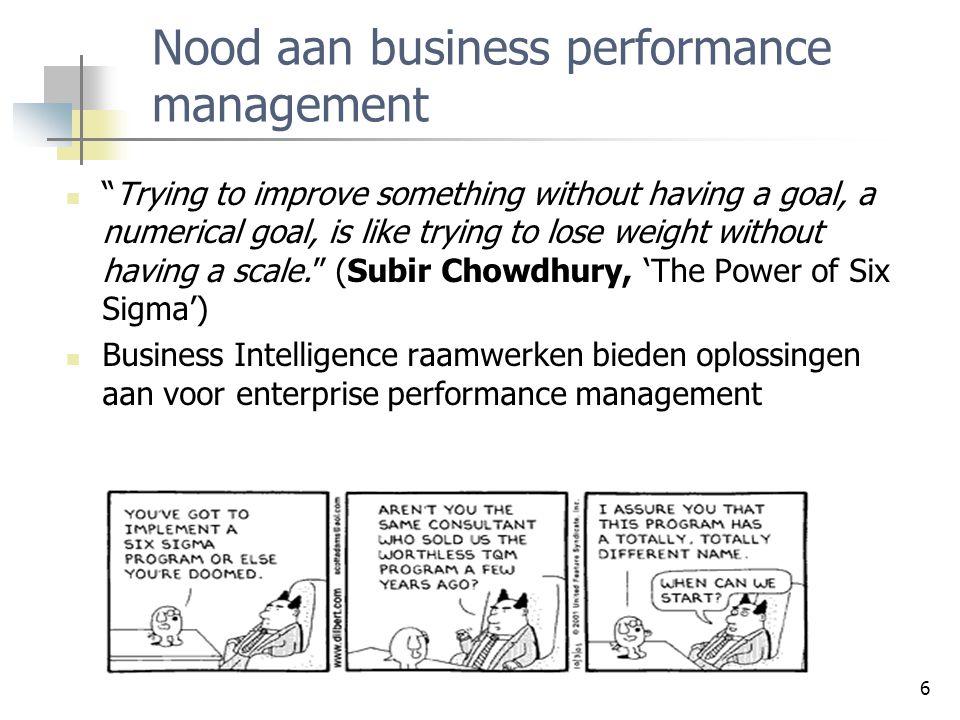 7 Balanced scorecards Balanced scorecards laten toe om de bedrijfsactiviteiten te bemeten in termen van visie en strategie (Kaplan en Norton, 1992) Laat toe om de prestatie te meten via het combineren van klassieke financiële met niet-financiële indicatoren Bv.