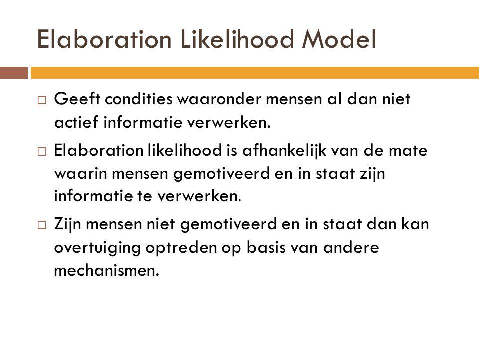 Elaboration Likelihood Model Boodschap Perifere route Motivatie om ze te verwerken.