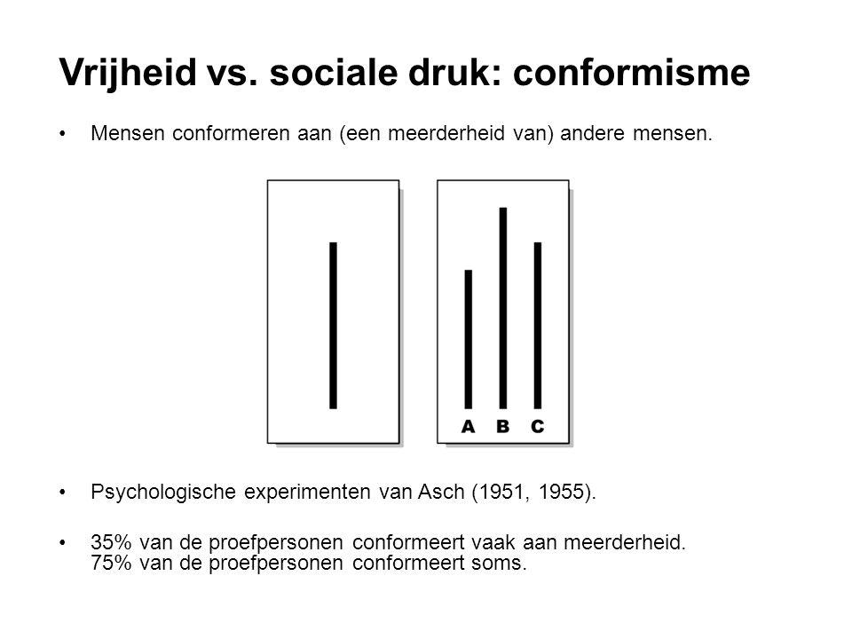 Mensen conformeren aan (een meerderheid van) andere mensen. Psychologische experimenten van Asch (1951, 1955). 35% van de proefpersonen conformeert va