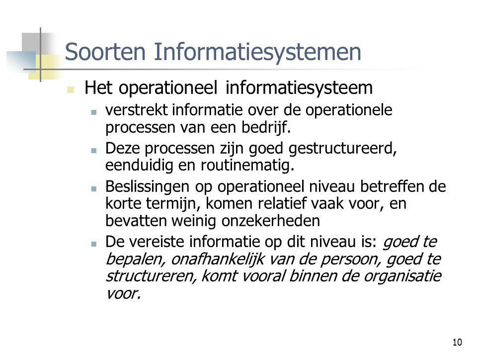 10 Soorten Informatiesystemen Het operationeel informatiesysteem verstrekt informatie over de operationele processen van een bedrijf. Deze processen z