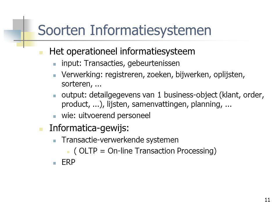 11 Soorten Informatiesystemen Het operationeel informatiesysteem input: Transacties, gebeurtenissen Verwerking: registreren, zoeken, bijwerken, oplijs