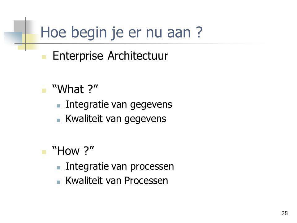 """28 Hoe begin je er nu aan ? Enterprise Architectuur """"What ?"""" Integratie van gegevens Kwaliteit van gegevens """"How ?"""" Integratie van processen Kwaliteit"""