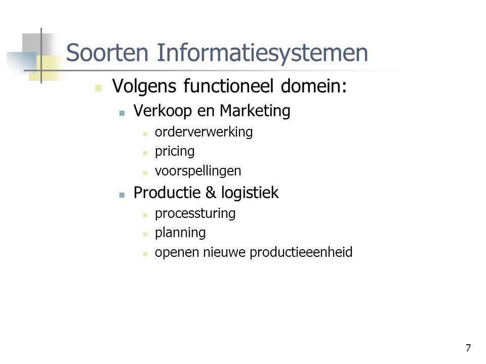 7 Soorten Informatiesystemen Volgens functioneel domein: Verkoop en Marketing orderverwerking pricing voorspellingen Productie & logistiek processturi