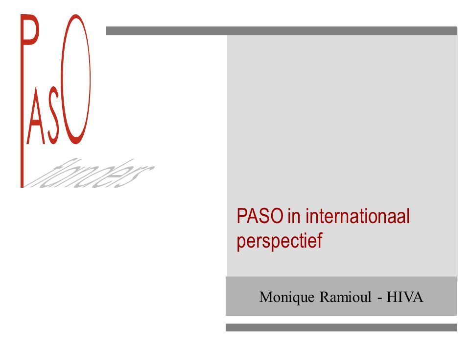 Monique Ramioul - HIVA PASO in internationaal perspectief