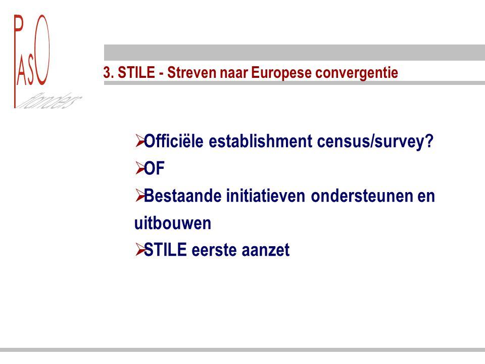 3.STILE - Streven naar Europese convergentie  Officiële establishment census/survey.