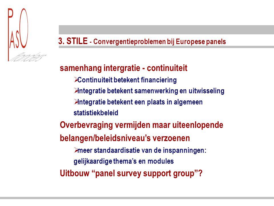 3. STILE - Convergentieproblemen bij Europese panels samenhang intergratie - continuiteit  Continuiteit betekent financiering  Integratie betekent s