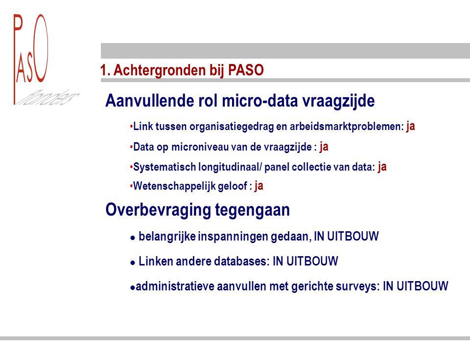 1. Achtergronden bij PASO Aanvullende rol micro-data vraagzijde Link tussen organisatiegedrag en arbeidsmarktproblemen: ja Data op microniveau van de