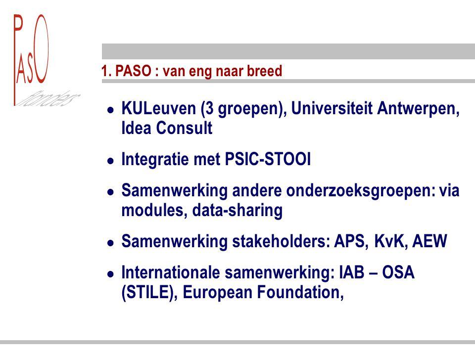 1. PASO : van eng naar breed KULeuven (3 groepen), Universiteit Antwerpen, Idea Consult Integratie met PSIC-STOOI Samenwerking andere onderzoeksgroepe