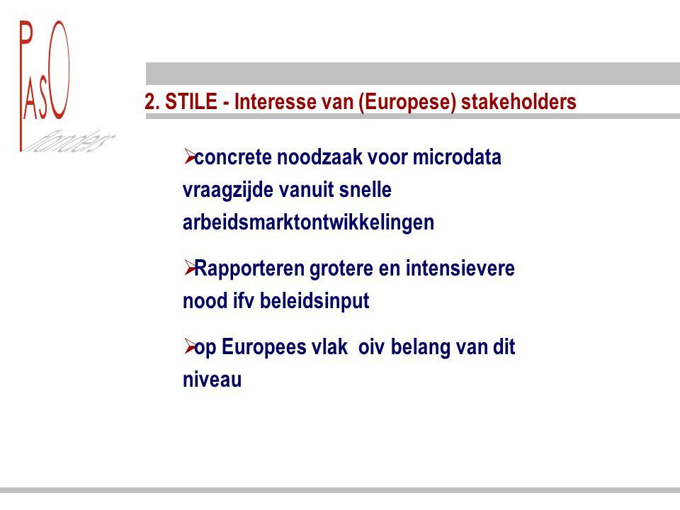 2. STILE - Interesse van (Europese) stakeholders  concrete noodzaak voor microdata vraagzijde vanuit snelle arbeidsmarktontwikkelingen  Rapporteren