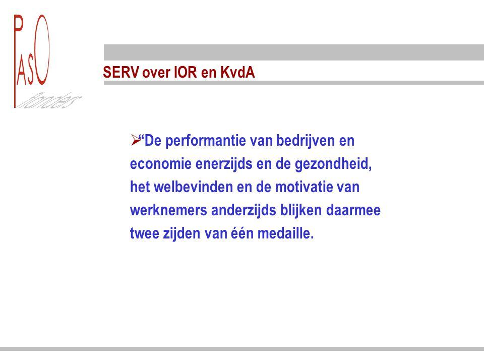 """SERV over IOR en KvdA  """"De performantie van bedrijven en economie enerzijds en de gezondheid, het welbevinden en de motivatie van werknemers anderzij"""