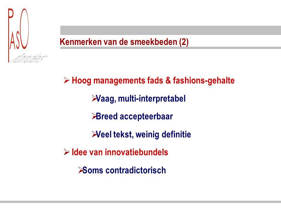 Kenmerken van de smeekbeden (2)  Hoog managements fads & fashions-gehalte  Vaag, multi-interpretabel  Breed accepteerbaar  Veel tekst, weinig defi