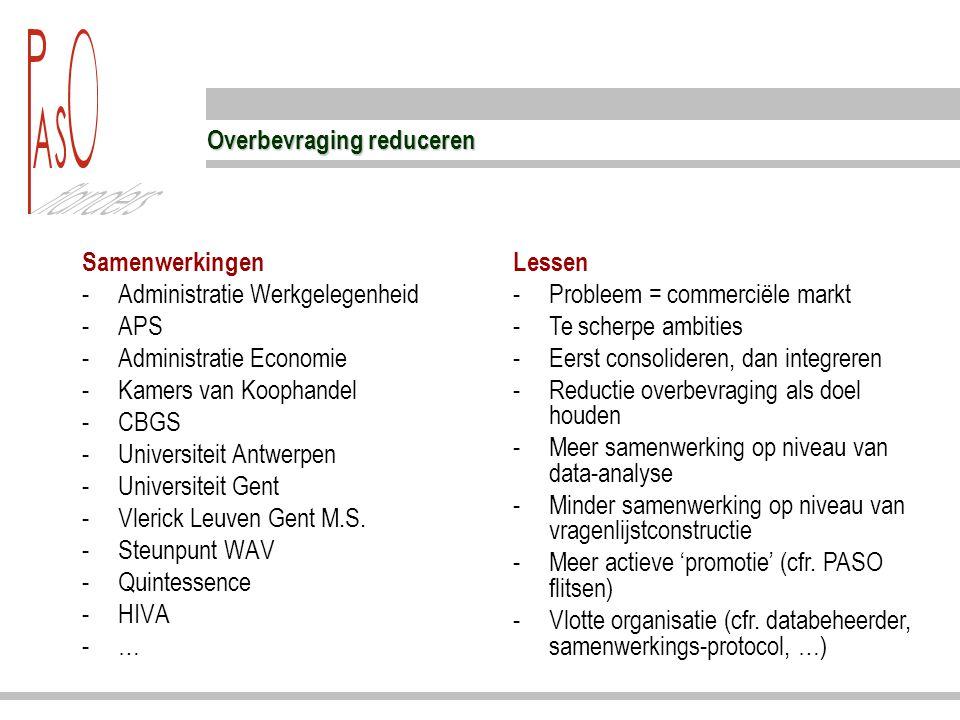 Overbevraging reduceren Samenwerkingen -Administratie Werkgelegenheid -APS -Administratie Economie -Kamers van Koophandel -CBGS -Universiteit Antwerpen -Universiteit Gent -Vlerick Leuven Gent M.S.