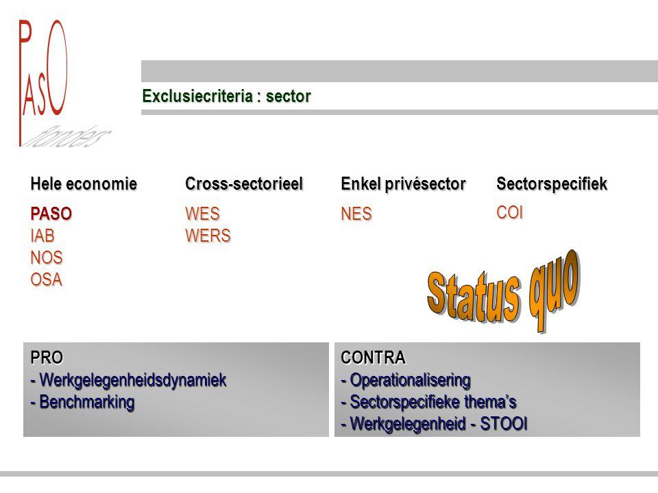 Exclusiecriteria : sector Hele economie Cross-sectorieel Enkel privésector Sectorspecifiek PASO IAB NOS OSA WES WERS NES COI PRO - Werkgelegenheidsdyn