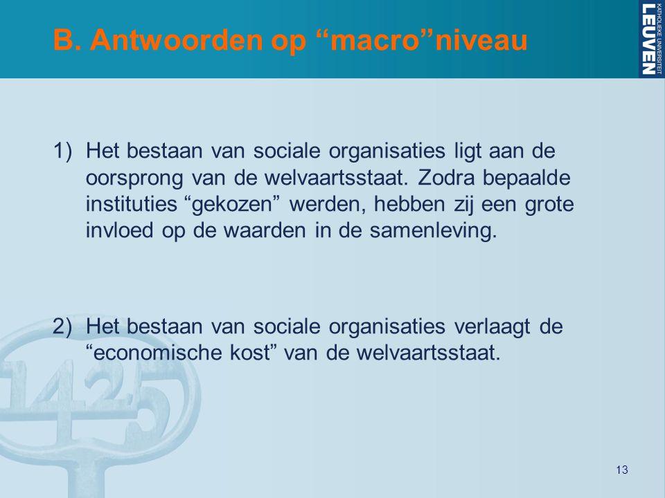 """13 B. Antwoorden op """"macro""""niveau 1)Het bestaan van sociale organisaties ligt aan de oorsprong van de welvaartsstaat. Zodra bepaalde instituties """"geko"""