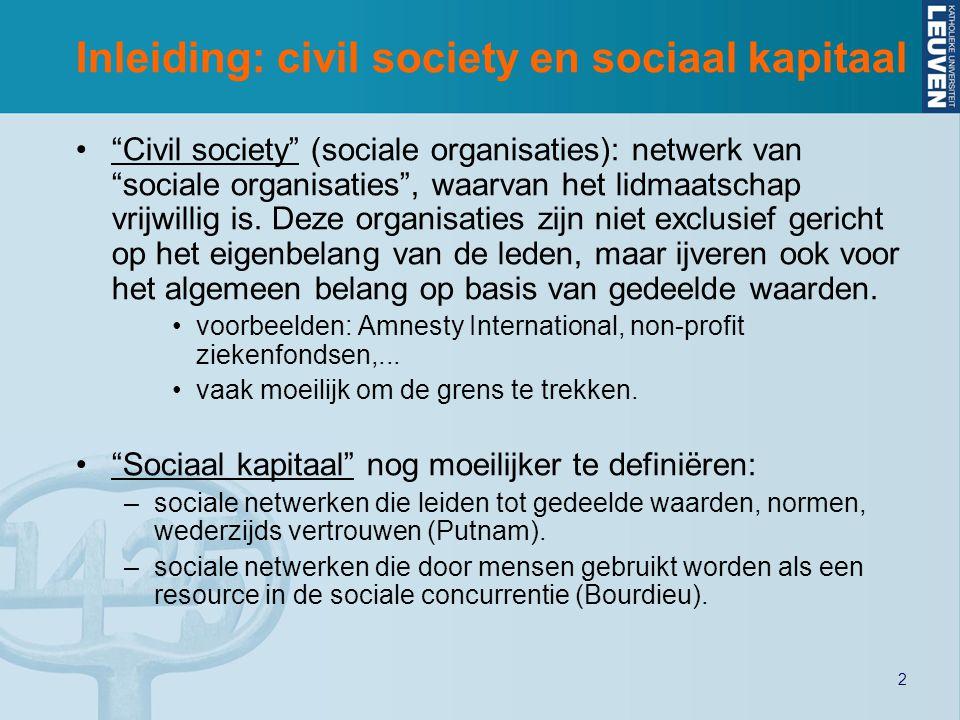 2 Inleiding: civil society en sociaal kapitaal Civil society (sociale organisaties): netwerk van sociale organisaties , waarvan het lidmaatschap vrijwillig is.
