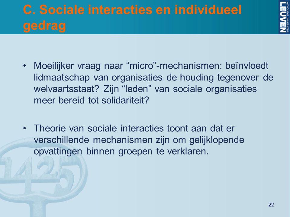 """22 C. Sociale interacties en individueel gedrag Moeilijker vraag naar """"micro""""-mechanismen: beïnvloedt lidmaatschap van organisaties de houding tegenov"""