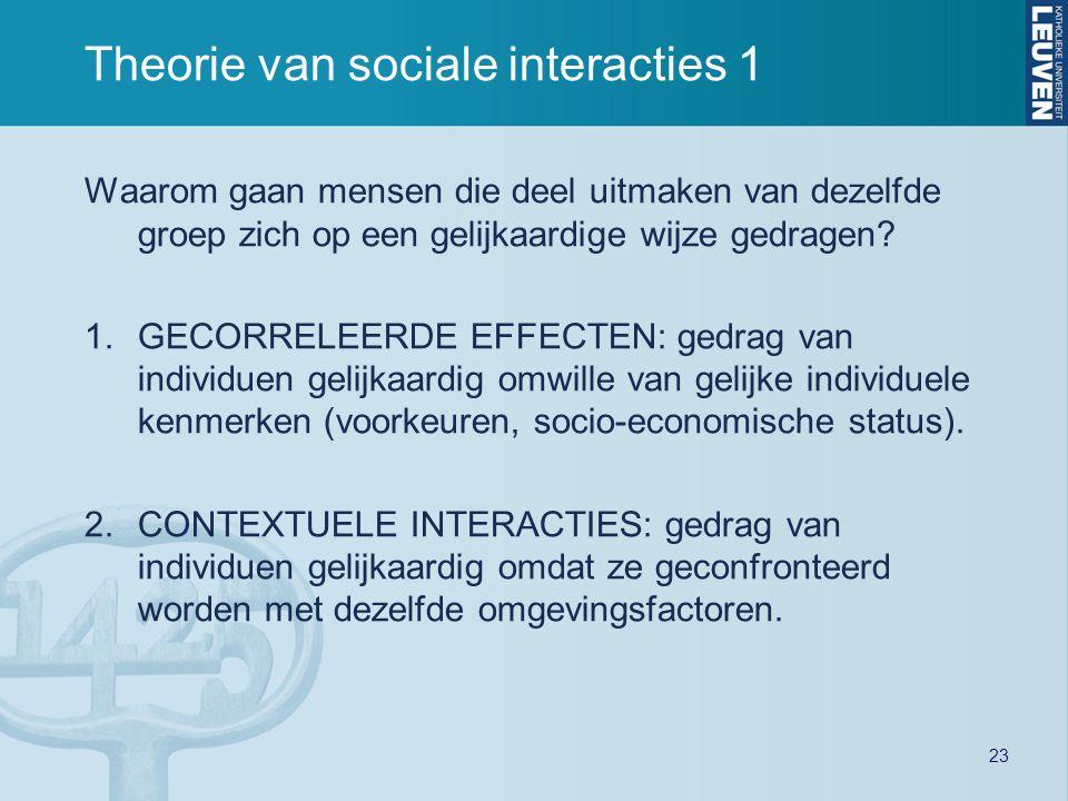 23 Theorie van sociale interacties 1 Waarom gaan mensen die deel uitmaken van dezelfde groep zich op een gelijkaardige wijze gedragen? 1.GECORRELEERDE
