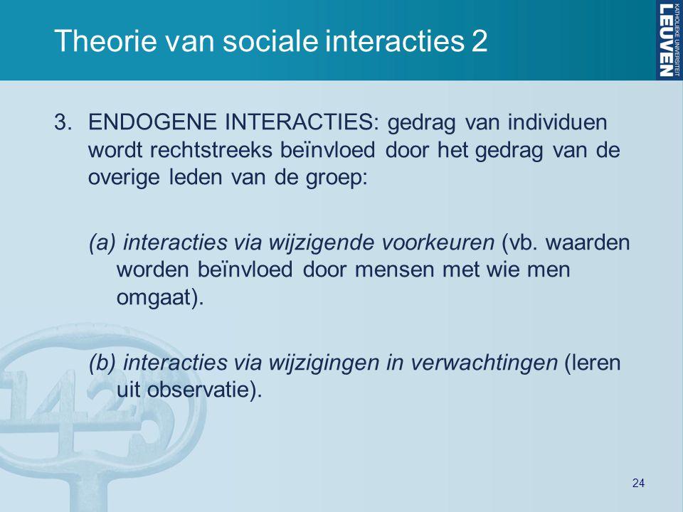 24 Theorie van sociale interacties 2 3.ENDOGENE INTERACTIES: gedrag van individuen wordt rechtstreeks beïnvloed door het gedrag van de overige leden van de groep: (a) interacties via wijzigende voorkeuren (vb.