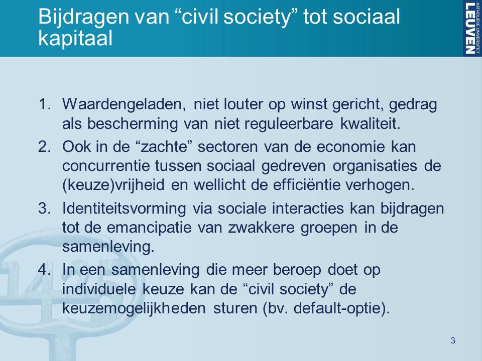 3 Bijdragen van civil society tot sociaal kapitaal 1.Waardengeladen, niet louter op winst gericht, gedrag als bescherming van niet reguleerbare kwaliteit.