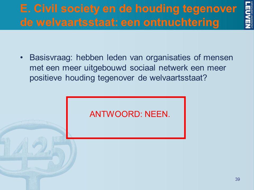 39 E. Civil society en de houding tegenover de welvaartsstaat: een ontnuchtering Basisvraag: hebben leden van organisaties of mensen met een meer uitg