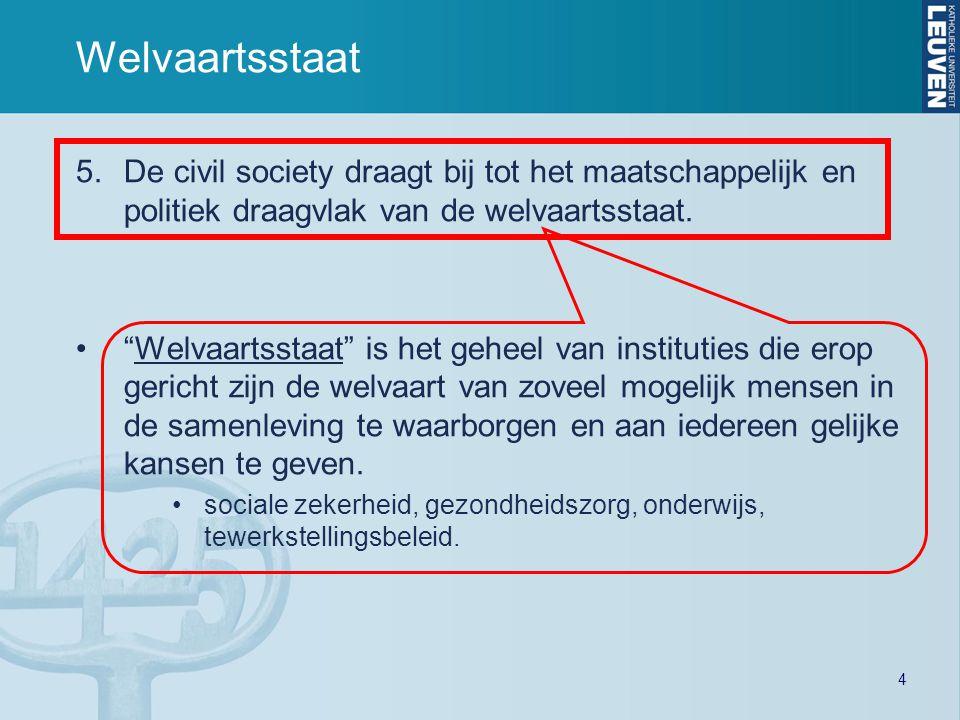 """4 Welvaartsstaat 5.De civil society draagt bij tot het maatschappelijk en politiek draagvlak van de welvaartsstaat. """"Welvaartsstaat"""" is het geheel van"""