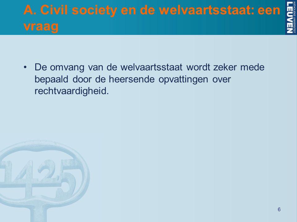 6 A. Civil society en de welvaartsstaat: een vraag De omvang van de welvaartsstaat wordt zeker mede bepaald door de heersende opvattingen over rechtva