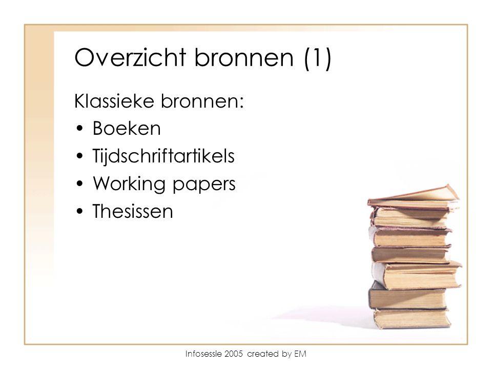 Infosessie 2005 created by EM Overzicht bronnen (1) Klassieke bronnen: Boeken Tijdschriftartikels Working papers Thesissen