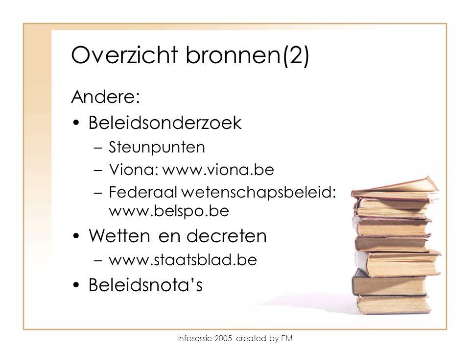 Infosessie 2005 created by EM Overzicht bronnen(2) Andere: Beleidsonderzoek –Steunpunten –Viona: www.viona.be –Federaal wetenschapsbeleid: www.belspo.be Wetten en decreten –www.staatsblad.be Beleidsnota's