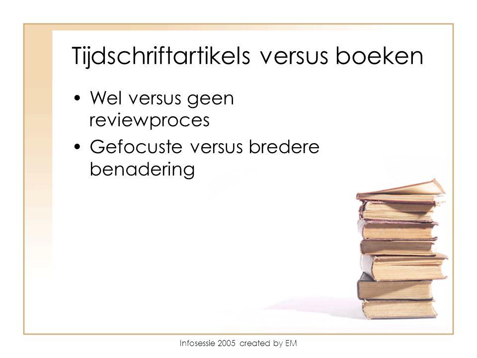 Infosessie 2005 created by EM Tijdschriftartikels versus boeken Wel versus geen reviewproces Gefocuste versus bredere benadering