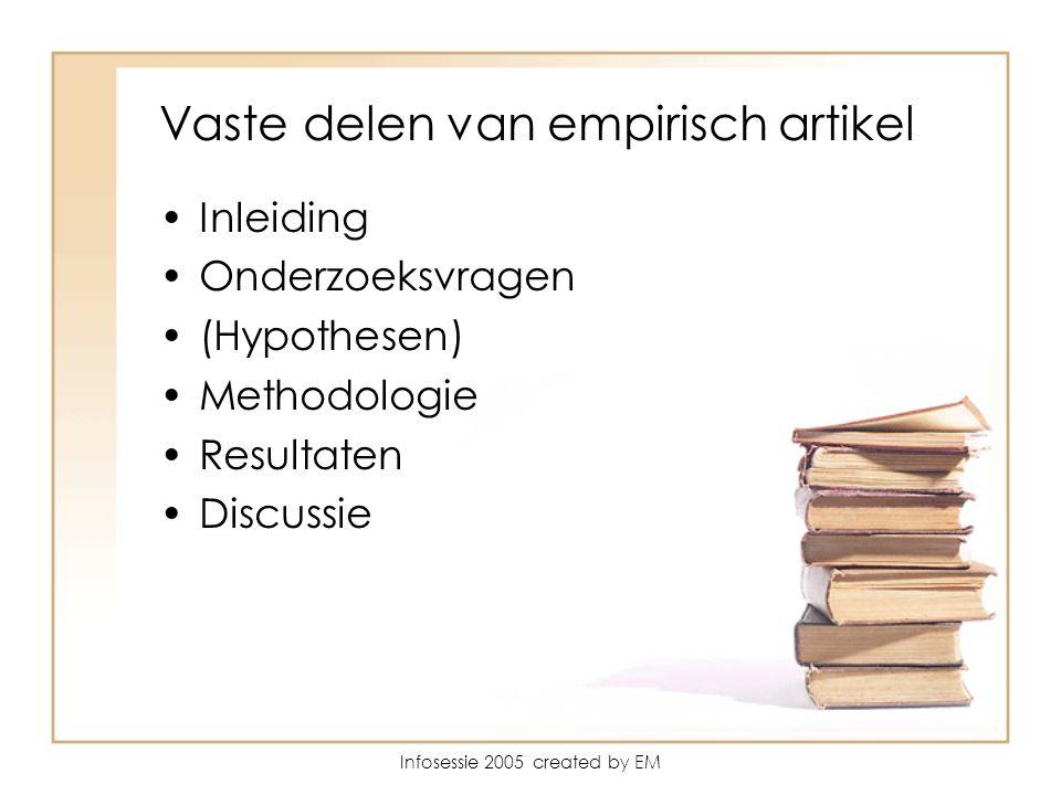 Infosessie 2005 created by EM Vaste delen van empirisch artikel Inleiding Onderzoeksvragen (Hypothesen) Methodologie Resultaten Discussie