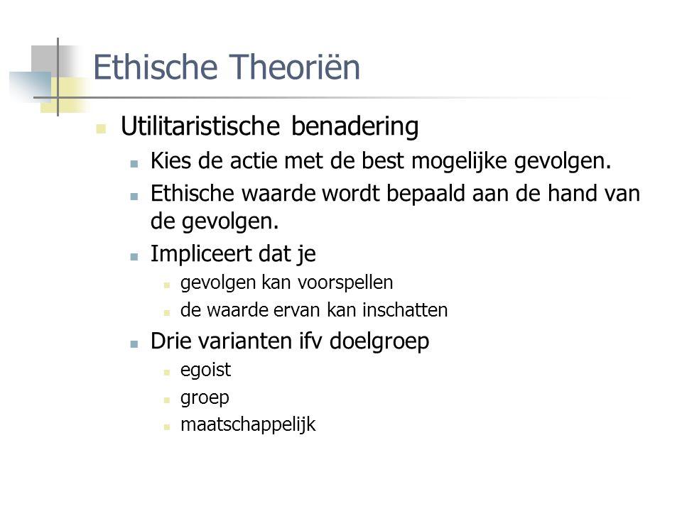 Ethische Theoriën Utilitaristische benadering Kies de actie met de best mogelijke gevolgen.