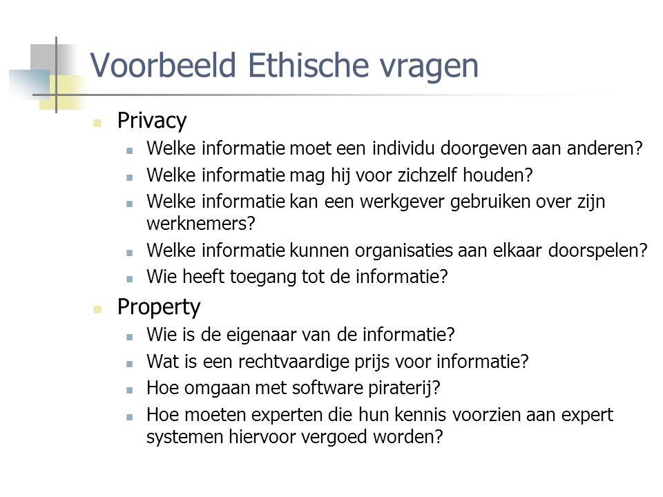 Voorbeeld Ethische vragen Privacy Welke informatie moet een individu doorgeven aan anderen.