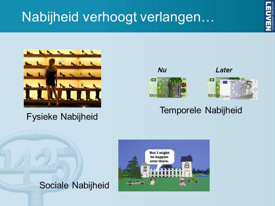 Nabijheid verhoogt verlangen… NuLater Fysieke Nabijheid Temporele Nabijheid Sociale Nabijheid