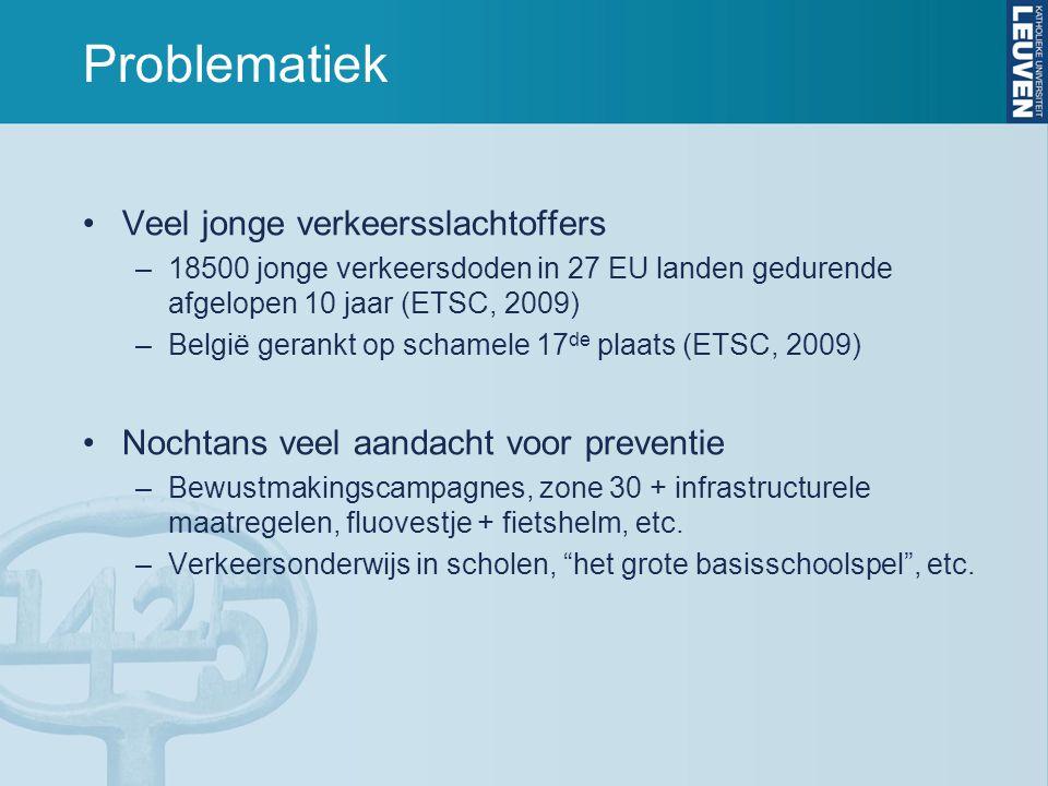 Problematiek Veel jonge verkeersslachtoffers –18500 jonge verkeersdoden in 27 EU landen gedurende afgelopen 10 jaar (ETSC, 2009) –België gerankt op schamele 17 de plaats (ETSC, 2009) Nochtans veel aandacht voor preventie –Bewustmakingscampagnes, zone 30 + infrastructurele maatregelen, fluovestje + fietshelm, etc.
