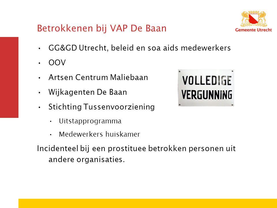 Betrokkenen bij VAP De Baan GG&GD Utrecht, beleid en soa aids medewerkers OOV Artsen Centrum Maliebaan Wijkagenten De Baan Stichting Tussenvoorziening