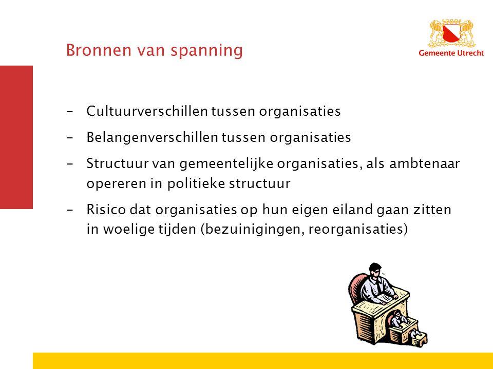 Bronnen van spanning -Cultuurverschillen tussen organisaties -Belangenverschillen tussen organisaties -Structuur van gemeentelijke organisaties, als a