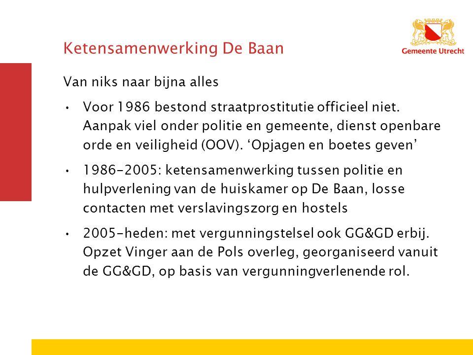Ketensamenwerking De Baan Van niks naar bijna alles Voor 1986 bestond straatprostitutie officieel niet. Aanpak viel onder politie en gemeente, dienst