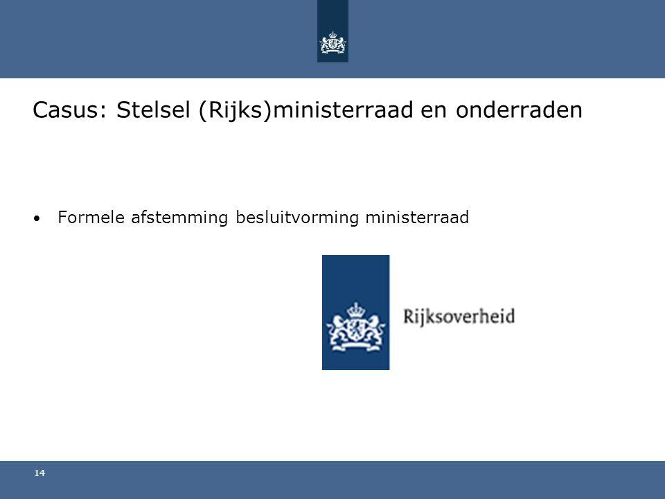 Casus: Stelsel (Rijks)ministerraad en onderraden Formele afstemming besluitvorming ministerraad 14