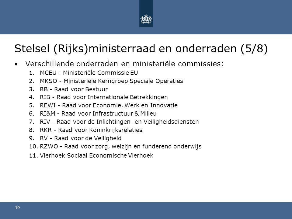 Stelsel (Rijks)ministerraad en onderraden (5/8) Verschillende onderraden en ministeriële commissies: 1.MCEU - Ministeriële Commissie EU 2.MKSO - Ministeriële Kerngroep Speciale Operaties 3.RB - Raad voor Bestuur 4.RIB - Raad voor Internationale Betrekkingen 5.REWI - Raad voor Economie, Werk en Innovatie 6.RI&M - Raad voor Infrastructuur & Milieu 7.RIV - Raad voor de Inlichtingen- en Veiligheidsdiensten 8.RKR - Raad voor Koninkrijksrelaties 9.RV - Raad voor de Veiligheid 10.RZWO - Raad voor zorg, welzijn en funderend onderwijs 11.Vierhoek Sociaal Economische Vierhoek 19