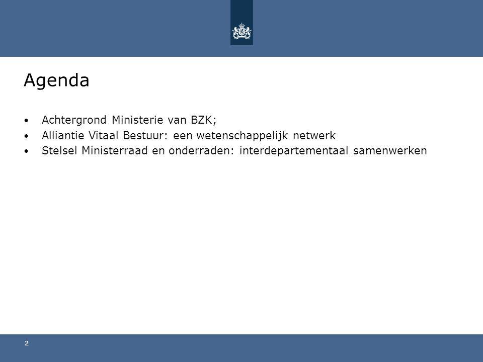 Agenda Achtergrond Ministerie van BZK; Alliantie Vitaal Bestuur: een wetenschappelijk netwerk Stelsel Ministerraad en onderraden: interdepartementaal samenwerken 2