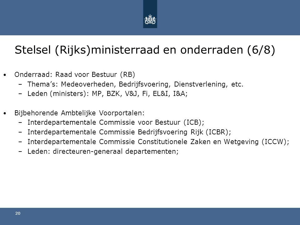 Stelsel (Rijks)ministerraad en onderraden (6/8) Onderraad: Raad voor Bestuur (RB) –Thema's: Medeoverheden, Bedrijfsvoering, Dienstverlening, etc.