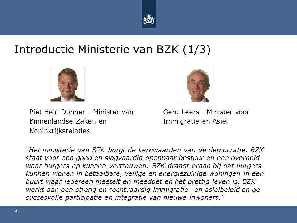 Piet Hein Donner - Minister van Gerd Leers - Minister voor Binnenlandse Zaken en Immigratie en Asiel Koninkrijksrelaties Het ministerie van BZK borgt de kernwaarden van de democratie.