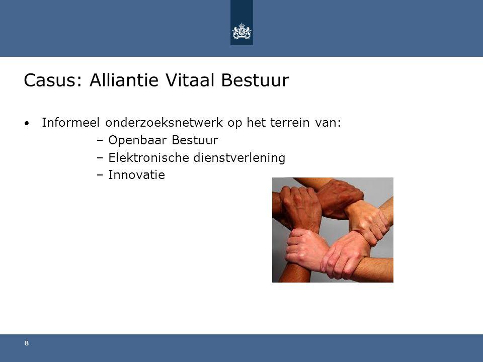 Casus: Alliantie Vitaal Bestuur Informeel onderzoeksnetwerk op het terrein van: –Openbaar Bestuur –Elektronische dienstverlening –Innovatie 8
