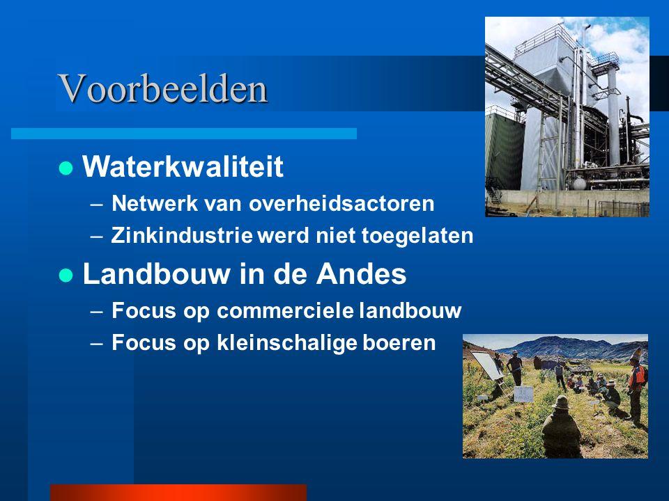 Voorbeelden Waterkwaliteit –Netwerk van overheidsactoren –Zinkindustrie werd niet toegelaten Landbouw in de Andes –Focus op commerciele landbouw –Focu